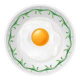 Fried egg on plate Stock Images