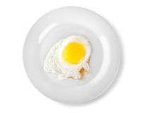 Fried egg on a plate (Path) Royalty Free Stock Photography