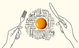 Fried egg in plate. With text Royalty Free Illustration