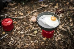 Fried egg on portable gas Stock Images