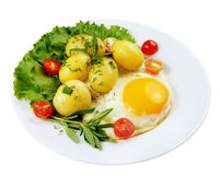 Fried egg with potato Stock Photography