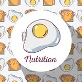 Fried egg protein with bread background design Royalty Free Stock Photography