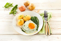 Fried egg, pureed spinach and baby potatoes. Fried egg, creamy pureed spinach and baby potatoes garnished with chopped parsley on a rustic white wooden table Stock Image
