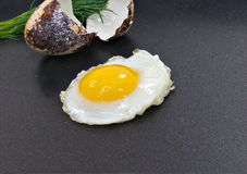 Fried egg. Fried quail egg on Teflon frying pan Royalty Free Stock Photography