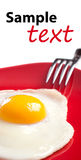 Fried egg on red plate Stock Photo