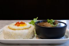 Fried egg on rice with boil soup. Stock Photography