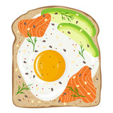 Fried egg with salmon and avocado on toast bread. Delicious egg and lox sandwich. Vector illustration. Royalty Free Stock Photography