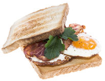 Fried Egg Sandwich with Bacon (on white) Stock Photos