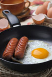 Fried egg and sausage Stock Image
