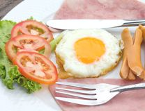 Fried egg, sausage and ham for breakfast Royalty Free Stock Photography