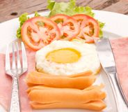 Fried egg, sausage and ham for breakfast Royalty Free Stock Images
