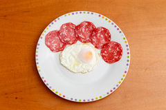 Fried egg with sausage Royalty Free Stock Image