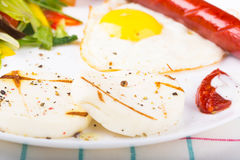 Fried egg and sausage Royalty Free Stock Photography