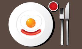 Fried egg and sausage on white plate vector Stock Photos