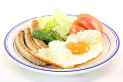 Fried egg and sausages. This is a fried egg and sausages one day I ate Royalty Free Stock Images