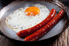 Fried egg. Fried egg with sausages in a pan Royalty Free Stock Image