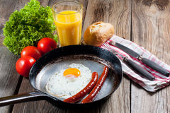 Fried egg. Fried egg with sausages in a pan Stock Image