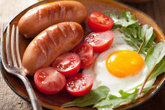 Fried egg sausages tomatoes for healthy breakfast Royalty Free Stock Image