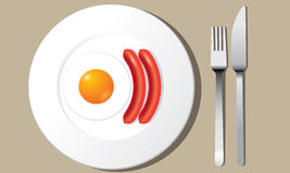 Fried egg and sausages on white plate vector Stock Photography