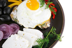 Fried egg served on dark plate Stock Images