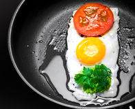 Fried egg in shape of Traffic Light Stock Image