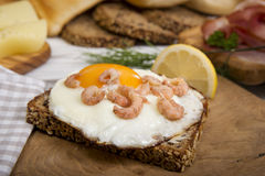 Fried egg with shrimps on protein bread and dill Stock Images