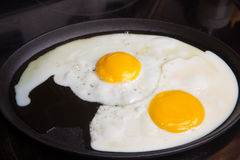 Fried Egg on a skillet. Morning breakfast fried eggs cooked on a skillet Stock Photography