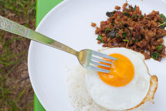 Fried egg and spicy food,Thailand food Royalty Free Stock Photos