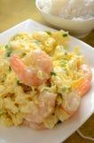 Fried Egg Steam Shrimp Imágenes de archivo libres de regalías