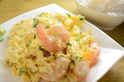 Fried Egg Steam Shrimp Fotografía de archivo