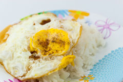 Fried egg with stream rice Royalty Free Stock Photography