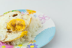 Fried egg with stream rice Royalty Free Stock Photos