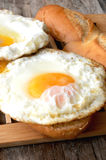 Fried egg on table for a bread Stock Photo