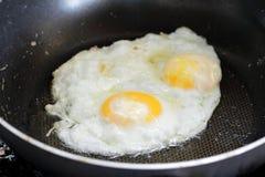 Fried egg. In the teflon pan Stock Photo