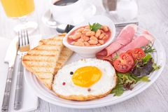 Fried egg with toast and beans Stock Photography