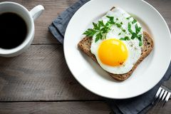 Fried Egg on Toast for Breakfast Royalty Free Stock Photography