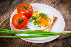 Fried egg on toast with greens and tomato Royalty Free Stock Photo