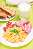 Fried egg, toast and milk Royalty Free Stock Images