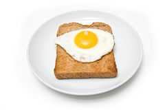 Fried egg on toast and plate Royalty Free Stock Photo