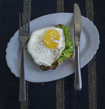 Fried egg with toast. Fried egg with toast and salad Stock Photo