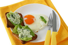Fried egg with toasts Stock Images