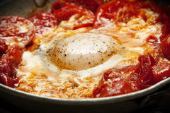Fried egg with tomato. Delicious perfectly fried egg in a sea of tomatoes Stock Photo