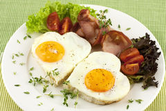Fried egg, tomato and bacon Royalty Free Stock Image