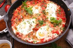 Fried egg with tomato royalty free stock photo
