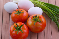 Fried egg with tomato recipe Stock Photography