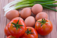 Fried egg with tomato recipe Royalty Free Stock Photography