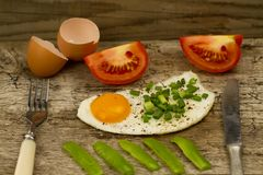 Fried egg topped with onions and tomatoes Stock Images