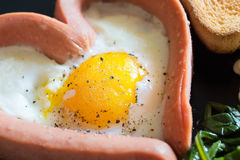 Fried egg Valentine`s day Royalty Free Stock Photos