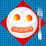 Fried Egg Vector el diseño para el menú del desayuno, café, restaurante ilustración del vector