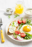 Fried egg, vegetable salad and a grilled cheese sandwich Royalty Free Stock Image